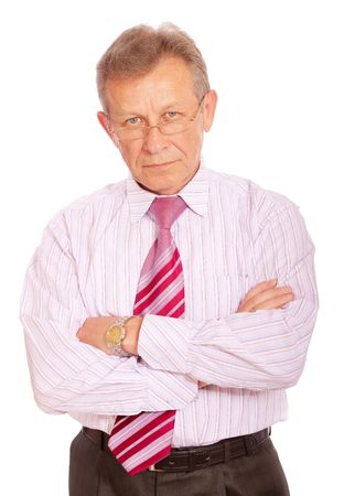 serious business: Portrait of senior business man, isolated on white background.