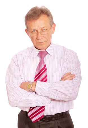 Portrait of senior business man, isolated on white background.