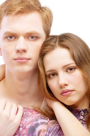 Portrait enamoured couple, isolated on white background. Stock Photo - 6663065