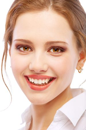 Portrait close up of smiling young woman, isolated on white background.