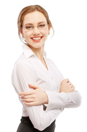 Charming business woman smiles, isolated on white background. Stock Photo - 6663066