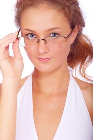 Portrait of beautiful girl in glasses, isolated on white background. photo