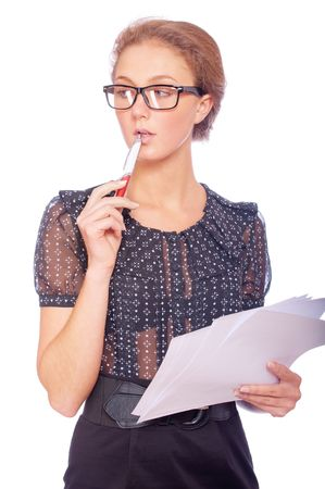 reviewer: Young business woman with pen and documents, isolated on white background.