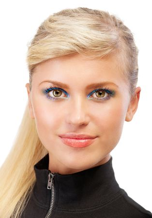 blonde close up: Portrait of smiling blonde close up, isolated on white background.