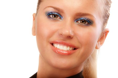 Portrait of smiling blonde close up, isolated on white background. Stock Photo - 6732556
