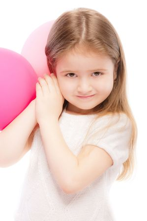 Portrait of beautiful preschool child with balloon, isolated on white background. photo