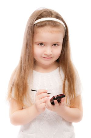 Portrait of beautiful preschool child with smartphone, isolated on white background. Stock Photo - 6780036
