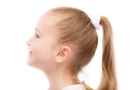 european expression face: Portrait of beautiful preschool child in profile, isolated on white background.