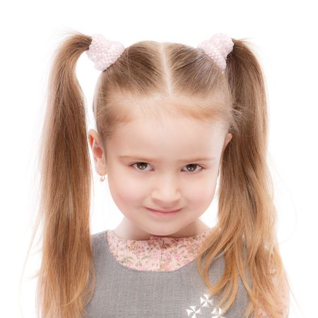 Portrait of beautiful preschool child with ponytail, isolated on white background. Stock Photo - 6780028