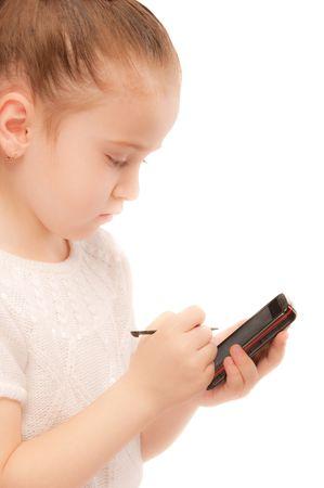 Portrait of beautiful preschool child with smartphone. Stock Photo - 6780072