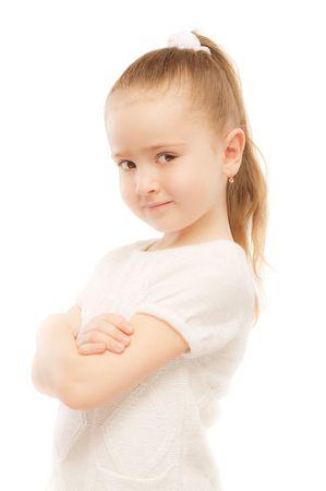 Portrait of beautiful preschool child, isolated on white background. photo