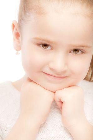 Portrait of beautiful smiling preschool child close up. photo