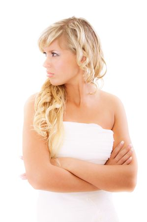mirada triste: Novia enojada en espera de novios, aislado sobre fondo blanco.  Foto de archivo