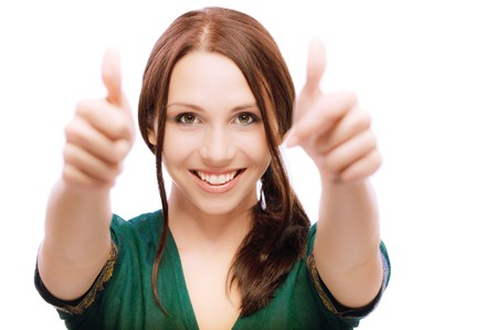 Girl laughs and lifts up thumbs, on white background. Stock Photo - 6879768