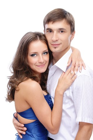 beloved: Young man and his beloved, on white background.