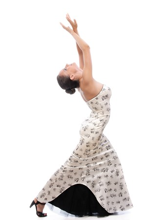 Woman dances, on white background. photo