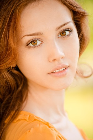 Portrait of beautiful young woman close up. photo