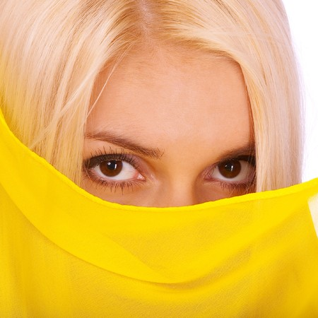 Blonde woman with yellow paranja, isolated on white background. photo