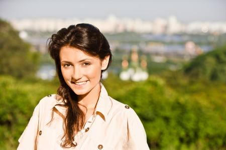 kiev: Beautiful girl against city of Kiev.
