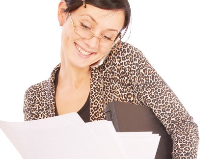 Business woman with laptop, documents and mobile phone, isolated on white background. Stock Photo - 7517084