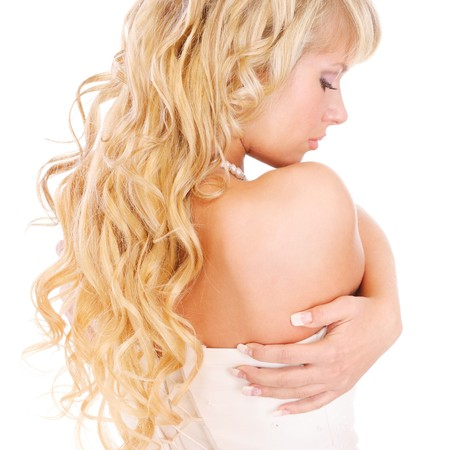 Girl with long fair hair from back, isolated on white background. photo