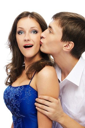portrait of young couple posing on white Stock Photo