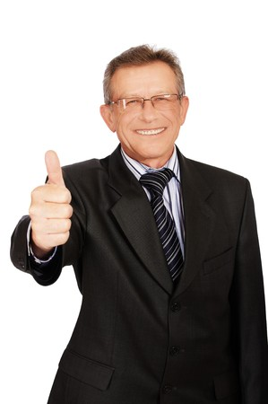 portrait of senior handsome businessman on white showing thumb up photo