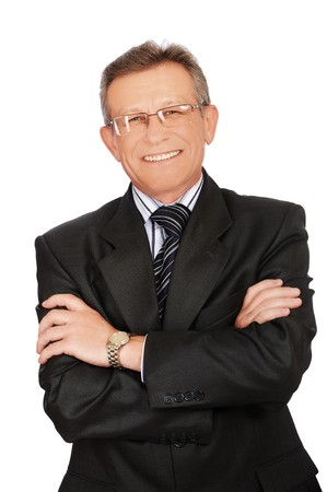 portrait of senior handsome businessman on white photo