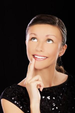 portrait of smiling visionary girl on black Stock Photo - 7806996