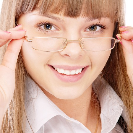 Beautiful woman wearing glasses, isolated on white background. photo
