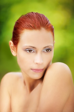 portrait of beautiful red-haired girl posing outdoors Stock Photo - 7811174