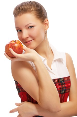 portrait of beautiful blonde with red apple on white Stock Photo - 7811144