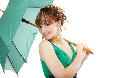 portrait of beautiful girl with green umbrella on white photo