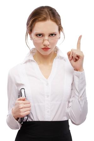 disciplina: Retrato de estricta chica pelirroja en copas con libro en blanco