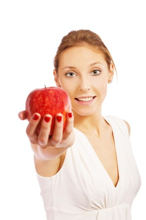 portrait of beautiful girl in white dress with apple on white Stock Photo - 7874513