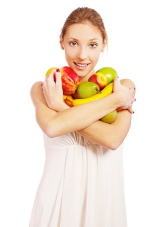 portrait of beautiful girl in white dress with assorted fruits on white Stock Photo - 7874512