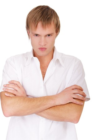 incensed: portrait of angry blond guy on white