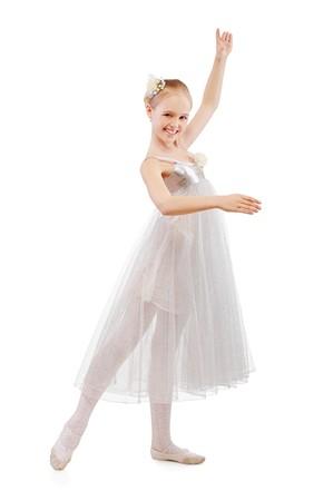 portrait of blonde kid ballet dancer on white photo