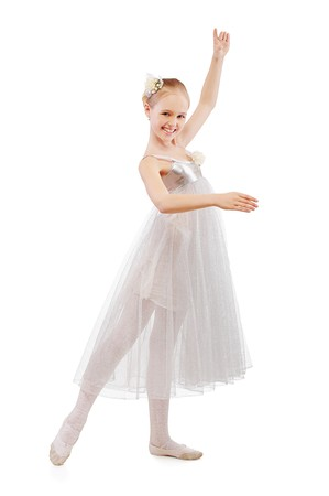 portrait of blonde kid ballet dancer on white photo