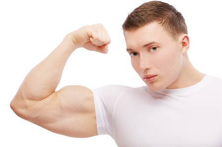 portrait of muscular athlete man showing biceps on white photo