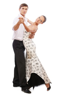 isolated portrait of gorgeous girl and man performing salsa photo