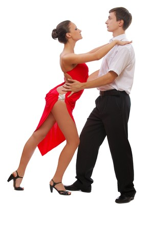 isolated portrait of gorgeous girl and man ballroom dancers photo