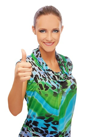 expression portrait of young beautiful brunette woman showing approving gesture Stock Photo - 8016445