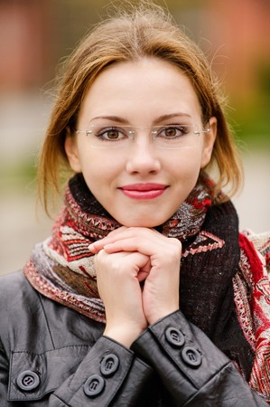Portrait of beautiful charming smiling woman photo