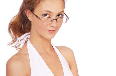 portrait of girl in glasses photo