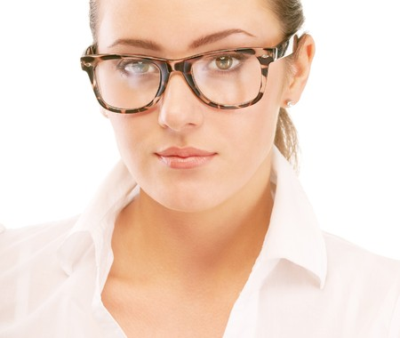 Portrait of business woman in glasses, isolated on white background. photo