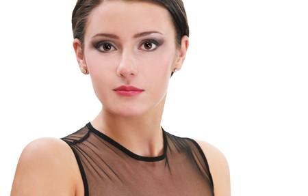 portrait of beautiful brunette girl posing in black cocktail dress on white Stock Photo - 8016612