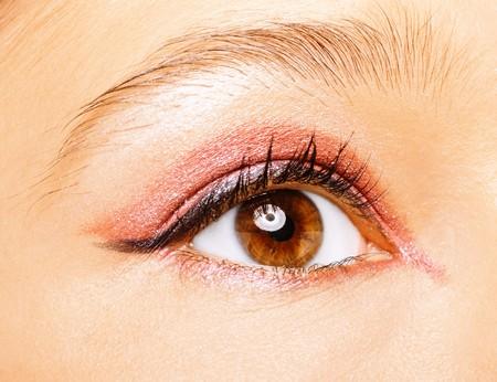 cilia: Eye of beautiful young caucasian woman close up. Stock Photo