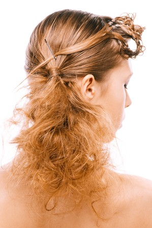 hairdress: Hairdress of beautiful young woman, rear view, on white background.