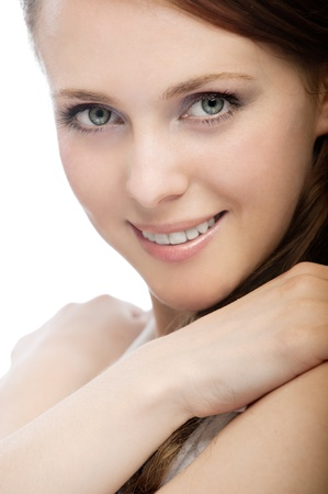 bared teeth: Portrait of a beautiful young woman on a white background